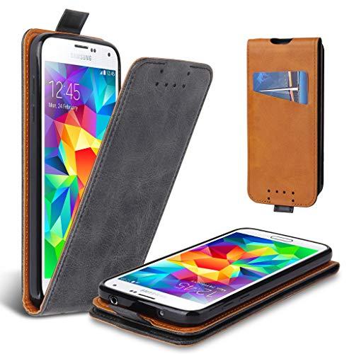Lelogo Galaxy S5 Hülle, Leder Tasche für Samsung Galaxy S5/ S5 Neo Handyhülle Flip Case Schutzhülle (Dunkel Grau) (Galaxy Case S5 Für Handy)
