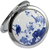 KOLIGHT® Chinese Landscape Flower Bird Double Sides (One is Normal,Another is Magnifying)Portable Foldable Pocket Metal Makeup Compact Mirror Woman Cosmetic Mirror (Blue Chinese Landscape)