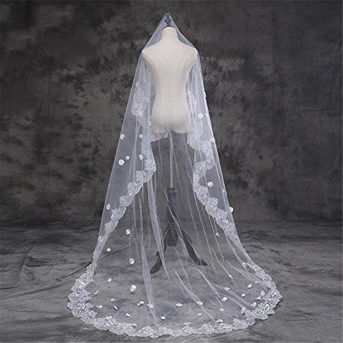 Bridal Veil Zwei Schicht Spitze Rand Lang Luxus Tüll Braut Schleier mit Kamm Hochzeit Zubehör
