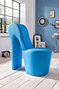 XANA-möbel fauteuil de bureau design en forme de fauteuil high heel fauteuil pouf-bleu