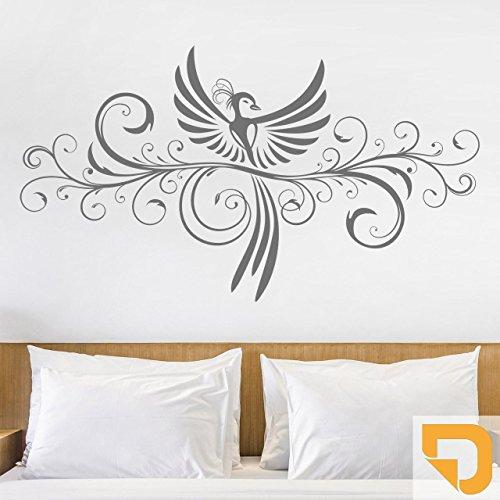 DESIGNSCAPE® Wandtattoo Ornament mit Phönix 80 x 45 cm (Breite x Höhe) hellorange DW805075-S-F23