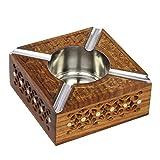 Icrafts - Posacenere artigianale in legno, realizzato a mano, stile indiano Design 3