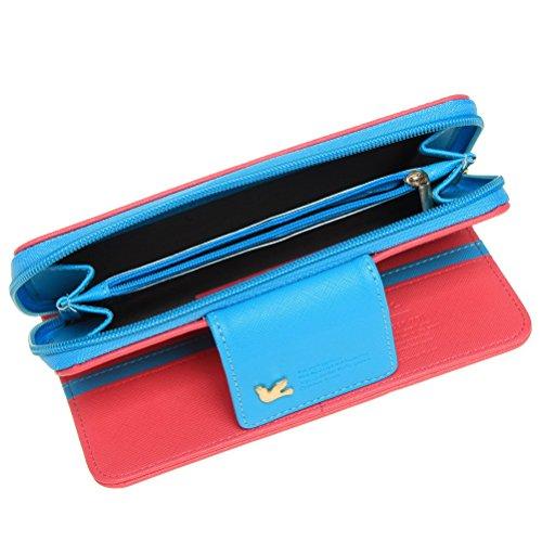Sicai Women's Multi-card Purse Two Fold PU Leather Long Zipper Card Holder Wallet Handbag Rose