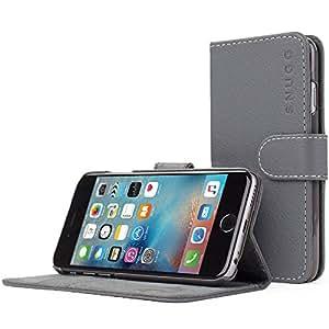 Coque iPhone 6, Snugg™ - Étui à Rabat de type Flip Cover / Smart Case En Cuir Gris Avec Garantie À Vie Pour Apple iPhone 6