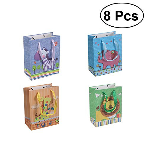 TOYMYTOY Geschenk-Taschen mit Griffen, Cartoon Tier gedruckt Süßigkeiten Taschen für Baby-Dusche, 8 Stück Baby-dusche-geschenk-tasche Für Mädchen