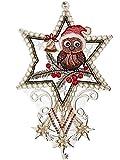 Fensterbild WEIHNACHTEN Plauener Stickerei Spitzenbild 17x27 cm + Saugnapf Spitze Weihnachts-Eule Fensterdekoration Advent