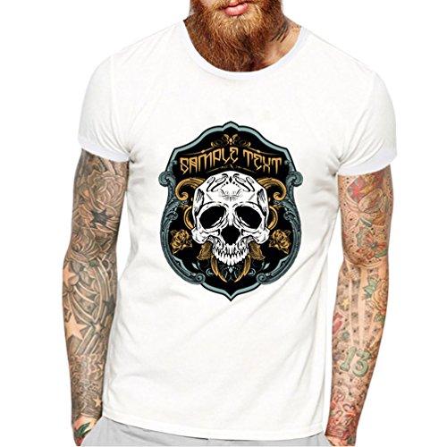 WanYang Herren Casual Männer T-Shirt Männer Shirt Herren Schädel Gedruckt Kurzarm Schädel # _17