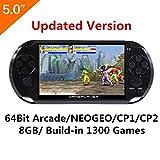 5-Zoll-LCD-Bildschirm 8GB 64Bit Retro Handheld-Spielkonsole Eingebaute 1200 + no-repeat Spiele mit MP4 MP5 Funktion Unterstützung Arcade NEOGEO/CPS/FC / NES, SFC / SNES / GB / GBC / GBA / SMC / SMD / SEGA Videospiele Konsolenunterstützung Ebook Kamera-Aufzeichnung (Schwarz)
