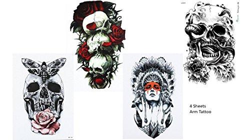 4 Bögen SKULL TATTOO ARM Tattoo Aufkleber Rosen Totenkopf Skull 4