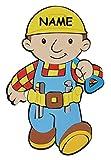 Unbekannt 3-D Türschild / Wandbild / Wandtattoo - XL Bob der Baumeister incl. Namen - aus Moosgummi - Baustelle Wandsticker Wanddeko für Kinderzimmer Kind Kinder Deko Bilder