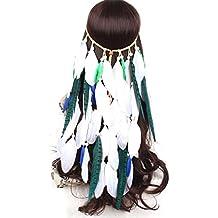 dressfan Bohemia Mujeres Diadema India Vendimia Pluma Banda para el cabello