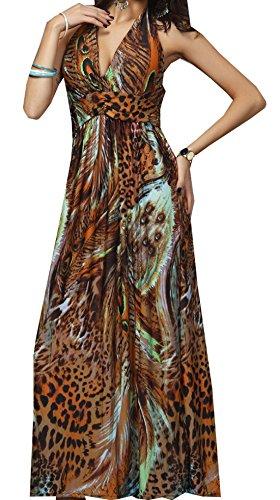 Sommer Kleider Damen Lang Kleider Fashion Boho Pfau Druck Milchseide Falten Maxikleid Strandkleider...