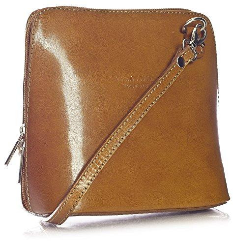 BHBS kleine Damenumhängetasche aus Italienischem Leder 18 x 16 x 7.5 cm (B x H x T) Marron - Medium Tan