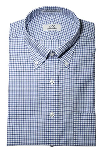 Cooper & Stewart (C&S) Uomini Senza rughe collo button down su misura adatta Blu/Blu Navy Plaid