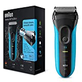 Braun Series 3 ProSkin 3010s Electric Shaver, Rechargeable and Cordless Wet and Dry Electric Razor for Men, Black/Blue