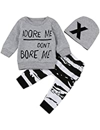 SMARTLADY 3PC/SET Camisetas de manga larga + Pantalones + Sombrero para Bebé Niños Otoño Invierno Ropa