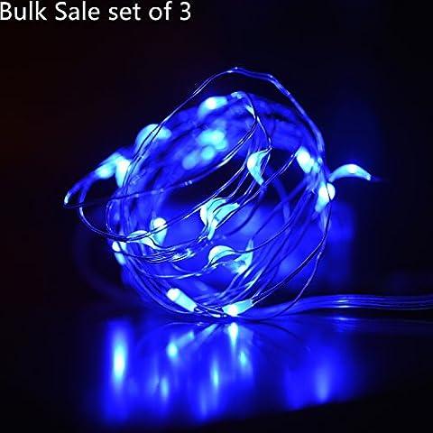 Amazlab T5, 5metros/16,5Pies, conjunto de 3, suave alambre de cobre cuerda Micro LED guirnalda de luces LED, 50bombillas LED estrellada interior al aire libre decorativa guirnalda de luces funciona con pilas.