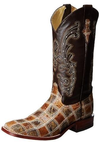 Ferrini Men's Patchwork Western Boot,Chocolate/Antique Saddle,13 D US