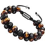 Natural Stone Bracelet for Men, Xikeo Essential Oil bead bracelet Adjustable Yoga Diffuser Bracelet for Men (tiger eye stone+black matte bead 8mm)