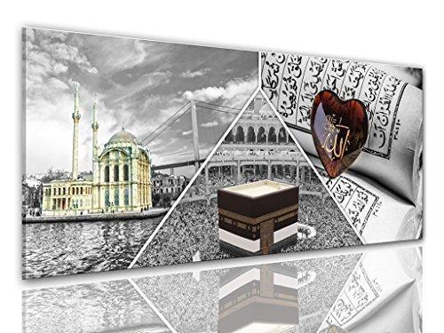 BILDER-MANUFAKTUR LEINWAND KUNSTDRUCK WANDBILD BILD BILDER, 8290 Farbe 4, 100 cm x 40 cm KORAN QUR´ AN HEILIGE SCHRIFT DES ISLAMS MOSCHEE REISE ZUM HAJJ IN MECCA HADSCH IN MEKKA ISLAMISCHE PILGAFAHRT MUSLIM SAUDI ARABIEN