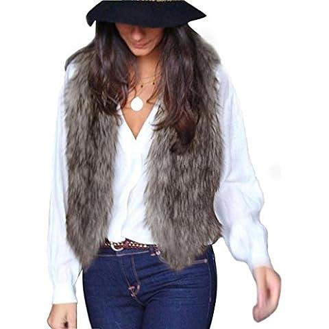 Baonoop_Mujeres chaleco sin mangas de prendas de vestir de largo chaqueta de pelo Waistcoat