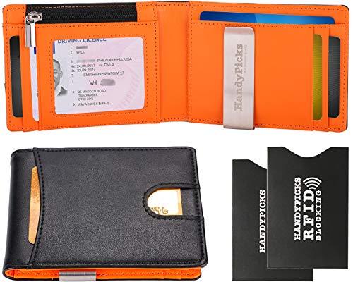 Herren Geldbörse mit Geldklammer Portemonnaie und RFID-Schutz, Portmonee Kreditkartenetui, Reißverschlussfach für Wechselgeld, Geschenkbox & RFID-Kartenhüllen Inklusive Handy Picks