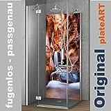 ORIGINAL plateART Rückwand Dusche Alu OHNE FUGEN, Eck-Duschrückwand Einzelplatte Fliesenspiegel Fliesenersatz, Motiv Zion Wasserfall, KOSTENLOSER ZUSCHNITT