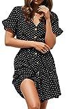 Spec4Y Damen Kleider V Ausschnitt Punkte Sommerkleid Rüschen Kurzarm Minikleid Strandkleid mit Gürtel 7461 Schwarz XL