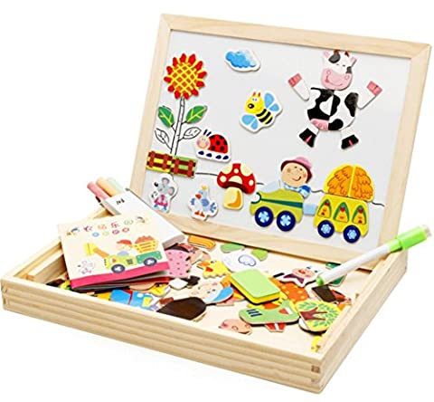 Magnetic Dry Erase Board Puzzles Games 100 Pieces Wooden Toy, Drawing Writing Board Magnetic Double Face Jigsaw& Drawing Easel Toys for Kidsr3 Years Old