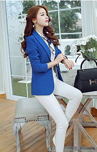 Blansdi Femme Veste de tailleur Blazer Longue Peplum Boutonnage Veste de Tailleur Slim Manches Longues Bleu