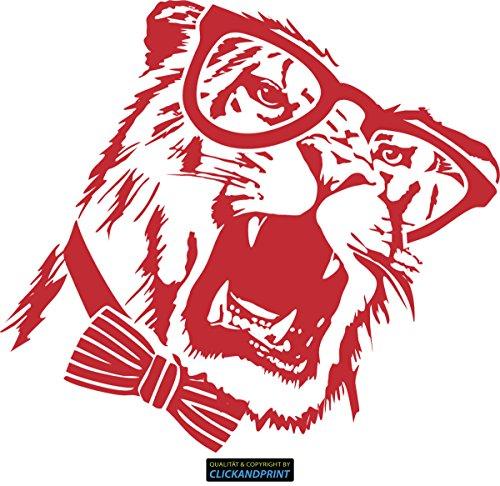 CLICKANDPRINT Aufkleber » Brillen-Tiger, 130x117,9cm, Rot • Wandtattoo / Wandaufkleber / Wandsticker / Wanddeko / Vinyl