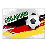 15 x Einladungskarten (schwarz rot gold Fussball) im Postkarten Format mit Umschlag/Fussball/WM/Party/Feier/Einladung