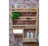 Gewürzregal aus Holz mit Halterung für Küchenrolle - hergestellt aus recyceltem Altholz - Upcycling Regal -