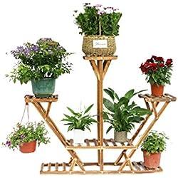 Malayas®Blumentreppe Blumenregal Holz 4 Ebenen aus Massivholz mit 8 Pflanzentreppe für Innen-Balkon Wohzimmer Outdoor Garten Dekor dreieckig Blumenständer 95×26×91cm Braun
