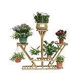 Malayas Étagère à Fleurs en Bois Porte Pots de Plante Fleurs avec 7 Tablettes Escalier Présentoire de Jardin 95×26×91cm