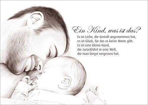 Glückwunschkarte Geburtskarte Babykarte für einen frisch gebackenen Vater mit wunderschöner Zeichnung Vater und Baby. Gedicht: EIN Kind, was ist das?. (4)