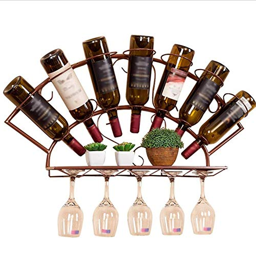 Portabottiglie di Vino da Parete Cremagliera del Vino Portabicchieri Porta-Bottiglie di Vino Scaffale Portabottiglie da Tavolo Portabottiglie in Vetro Metal Haiming (Colore : Retro Copper)
