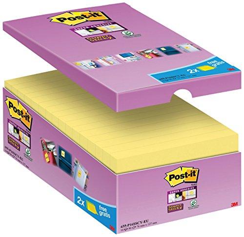 Post-it 65516SYP Haftnotiz Super Sticky Notes Promotion (127 x 76 mm) 16 Blöcke à 90 Blatt, gelb -