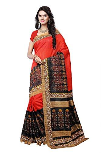 SHREE Art Silk Printed Multi-Colored Saree (Art Silk Saree_Multi Colored)
