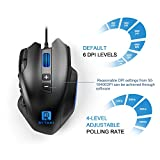 Rytaki Gaming Mouse, R6 50 to 16400 DPI High Precision Laser MMO Gaming Mice, 19 Programmable Buttons, 12 Side Buttons,6 Adjustable DPI Levels, 4 Polling Rate, Weight Tuning Cartridge for PC, Black