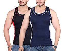 White Moon 999 Gym Vest - Pack of 2 (Black_Blue_85)