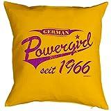 Kissen mit lutigem Geburtstagsmotiv - German Powergirl seit 1966 - Geschenk zum Geburtstag - Couch Kissen - Gelb