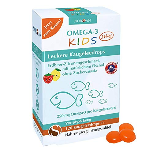 NORSAN Omega-3 KIDS Jelly zum Kauen fruchtige Kaugeleedrops mit Omega-3 für Kinder I 120 Stück