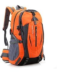 Senderismo Mochila Gran bolsa ligera de 40L impermeable, camping Outdoor Daypack con correa de la cintura para el senderismo, Viajes, Montaña de Escalada, Ciclismo, Pesca (naranja)