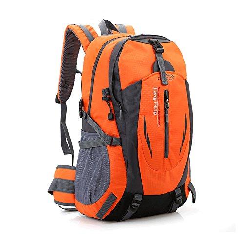 Imagen de senderismo  gran bolsa ligera de 40l impermeable, camping outdoor daypack con correa de la cintura para el senderismo, viajes, montaña de escalada, ciclismo, pesca naranja