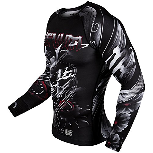 Venum Mens Samurai Skull Rash Guard Long Sleeve, Men, Samurai Skull