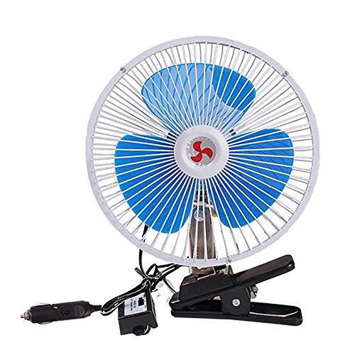 Selbstauto-Justierbarer Oszillierender Ventilator, 12/24V Ventilator-Persönlicher Ventilator mit Klipp-Zigarettenanzünder-Stecker ()