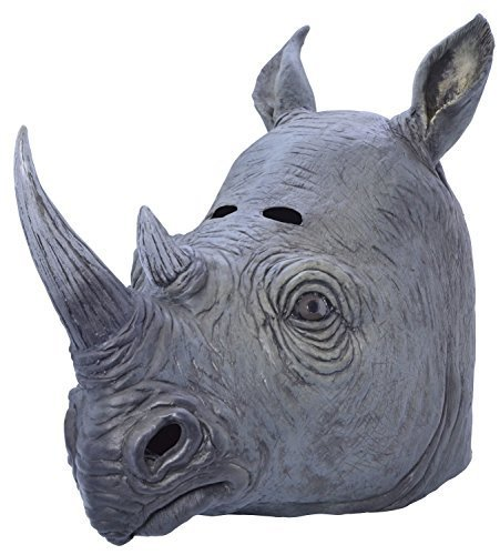 Rhino Kostüm - Fancy Me Erwachsene Damen Herren Rubber Das Gesicht Bedeckend Maske Animal Halloween Kostüm Kleid Outfit Zubehör - Rhino