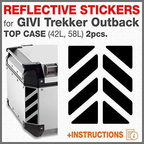 2pcs RIFRANGENTI ADESIVI per GIVI Monokey Trekker Outback Bauletto Alluminio TOP CASE 37 42 48 L (Nero)