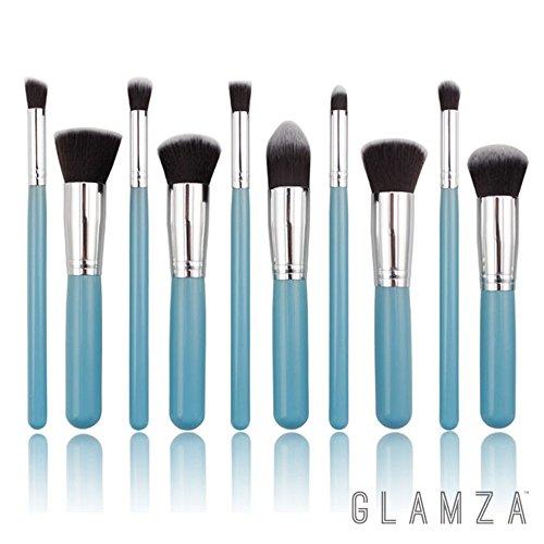 Glamza Make-up-Pinsel, Profi-Pinsel für Puder, Contouring, Augen-Make-up, Blending usw., weich, Blau, 10Stück - Flache Buffer Pinsel